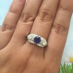 Jewelry - Art Deco style blue and clear stone silver ring